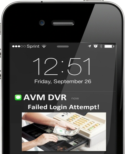 With our AVM system, you can even receive alerts when someone is attempting to log in to your camera system