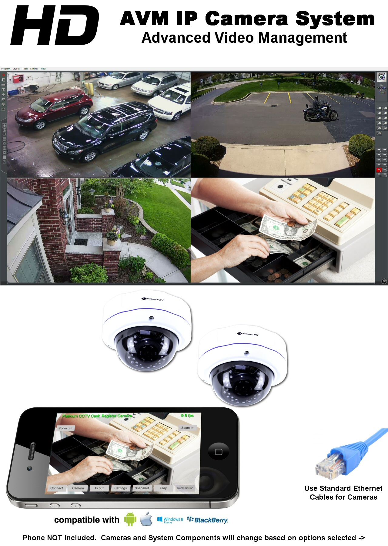 Hd Ip 2 Camera 2k Resolution System With Avm Nvr Software