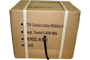 1000' Spool BLACK RG-59 Siamesed CCTV Power/Video Cable with RG-59 Coaxial Video and pair 18 GA Power Wire