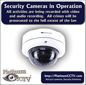 "Surveillance 4"" Sticker for Indoor/Outdoor use for Audio and Video recording"
