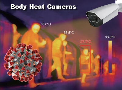 These body heat cameras are able to pre-screen body temperature to help identify individuals who need further screening. Fever is one of the first symptoms of COVID-19 or other viruses.