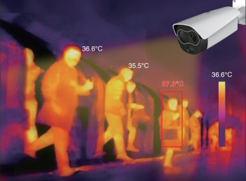 Thermal cameras such as this one can show if a person has elevated skin temperatures.