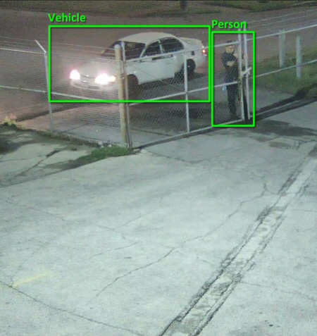 Image from business SMART Camera showing person and vehicle