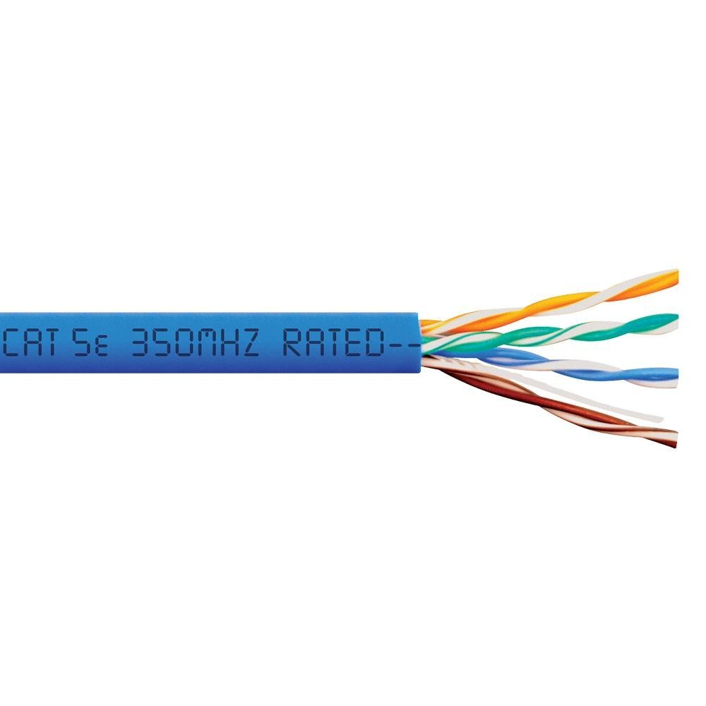 CAT-5e Plenum (CMP) Solid Copper Cable for Data and PoE - Blue