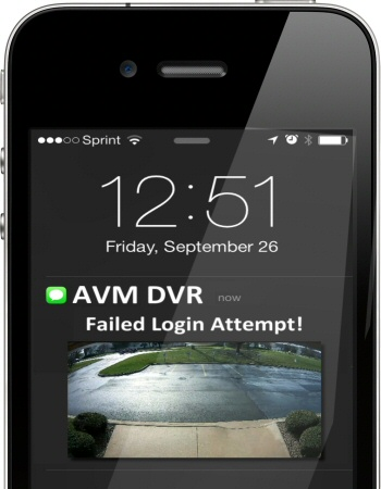 AVM security camera alerts when user logged in