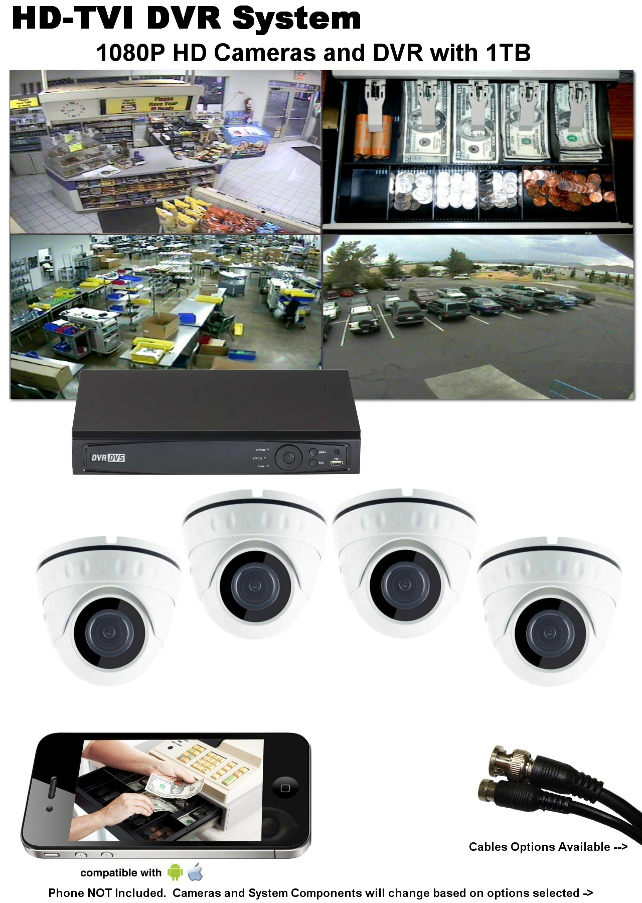 4 Camera HD TVI DVR System for Home or Business