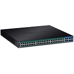 52-Port Gigabit PoE+ Rack Mountable Web Smart Switch for IP Cameras (48ports PoE+, 370W Power budget, 104 Gbps Switching)