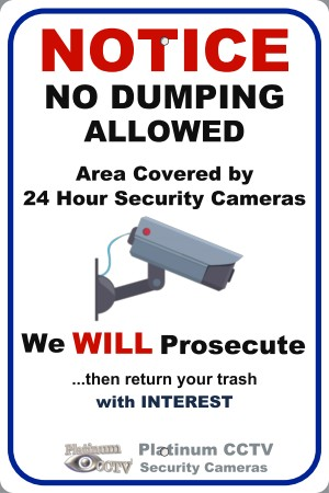 "Metal CCTV Sign 12"" x 18"" Outdoor Aluminum Weatherproof ""No Dumping Allowed"""