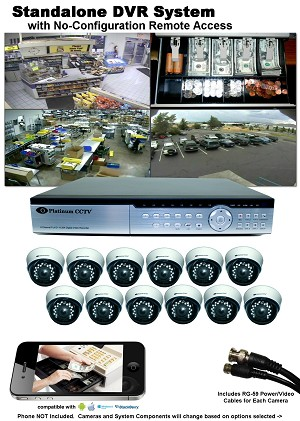 12-Camera System with Standalone DVR and iPhone/Android Remote Access - Select cameras at right