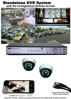 2-Camera Standalone DVR System (select cameras in options) with iPhone/Android Remote Access