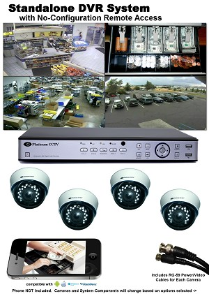 4-Camera Analog Standalone DVR Camera System with iPhone/Android Remote Access
