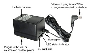 Power Adapter Hidden Self-Contained SD Card Camera
