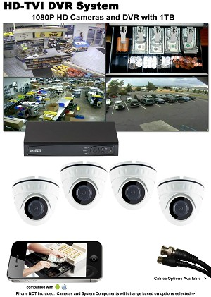 4-Camera HD-TVI Business Security Camera System