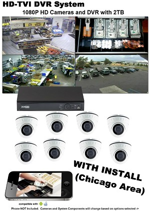 8 Camera HD TVI DVR System with Basic Commercial Install* (Chicago Area Only)