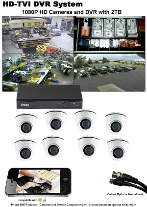 8 Camera HD TVI DVR System for Home or Business
